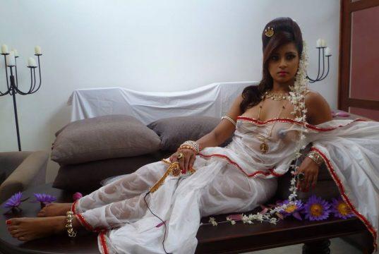 Honeymoon girl transparent saree