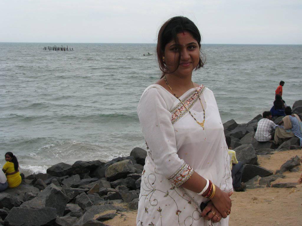 Girl Posing In White Transparent Saree-3686
